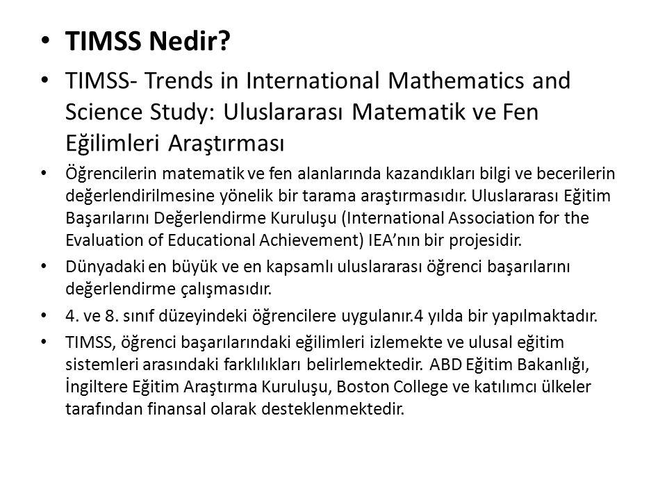 TIMSS Projesinin Amacı TIMSS'in temel amacı, dünya çapında matematik ve fen eğitim öğretiminin gelişmesine yardımcı olmaktır.