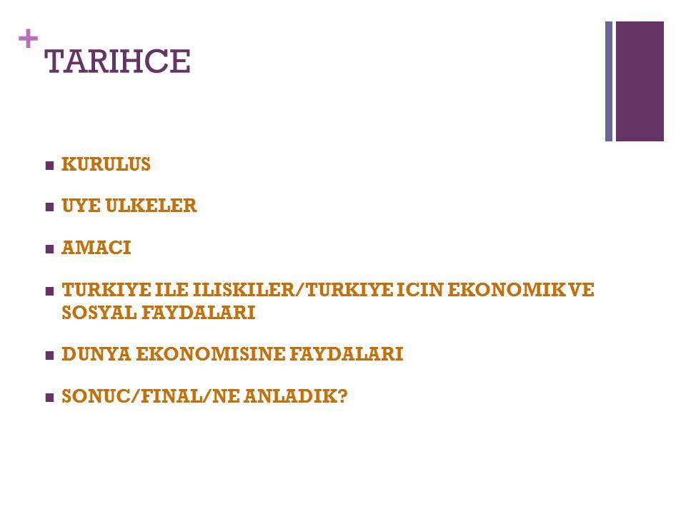 + TARIHCE KURULUS UYE ULKELER AMACI TURKIYE ILE ILISKILER/TURKIYE ICIN EKONOMIK VE SOSYAL FAYDALARI DUNYA EKONOMISINE FAYDALARI SONUC/FINAL/NE ANLADIK
