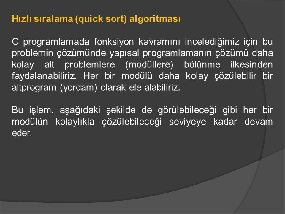 Hızlı sıralama (quick sort) algoritması C programlamada fonksiyon kavramını incelediğimiz için bu problemin çözümünde yapısal programlamanın çözümü daha kolay alt problemlere (modüllere) bölünme ilkesinden faydalanabiliriz.