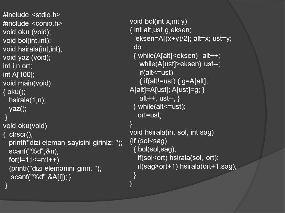 void yaz(void) {clrscr(); for(i=1;i<=n;i++) printf( %d ,A[i]); printf( \n ); getch(); }