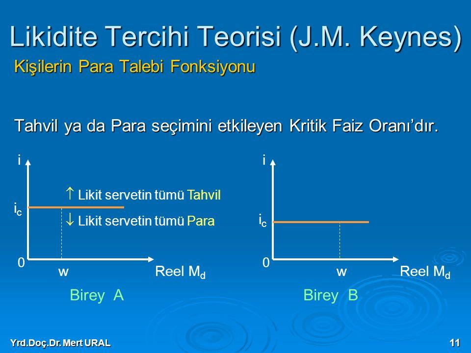 Yrd.Doç.Dr. Mert URAL 11 Likidite Tercihi Teorisi (J.M. Keynes) Kişilerin Para Talebi Fonksiyonu Tahvil ya da Para seçimini etkileyen Kritik Faiz Oran