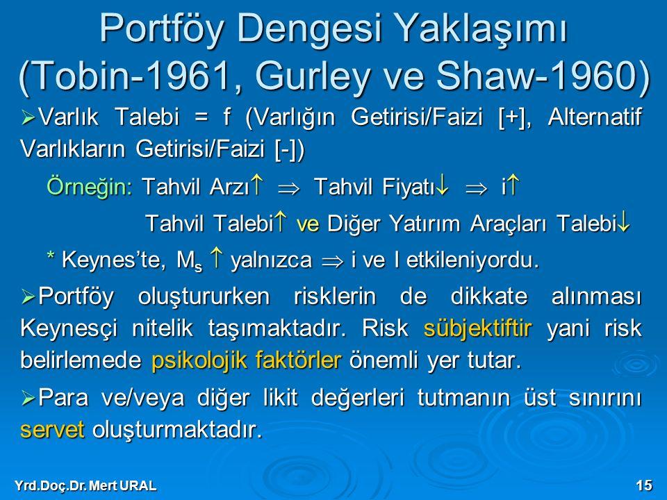 Yrd.Doç.Dr. Mert URAL 15 Portföy Dengesi Yaklaşımı (Tobin-1961, Gurley ve Shaw-1960)  Varlık Talebi = f (Varlığın Getirisi/Faizi [+], Alternatif Varl