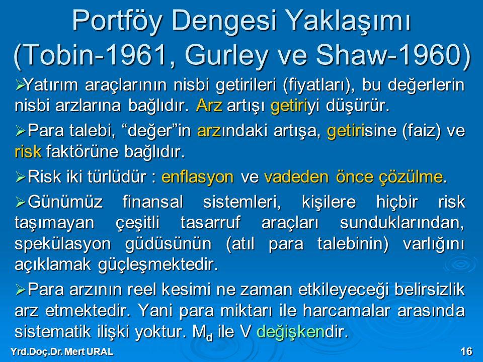 Yrd.Doç.Dr. Mert URAL 16 Portföy Dengesi Yaklaşımı (Tobin-1961, Gurley ve Shaw-1960)  Yatırım araçlarının nisbi getirileri (fiyatları), bu değerlerin