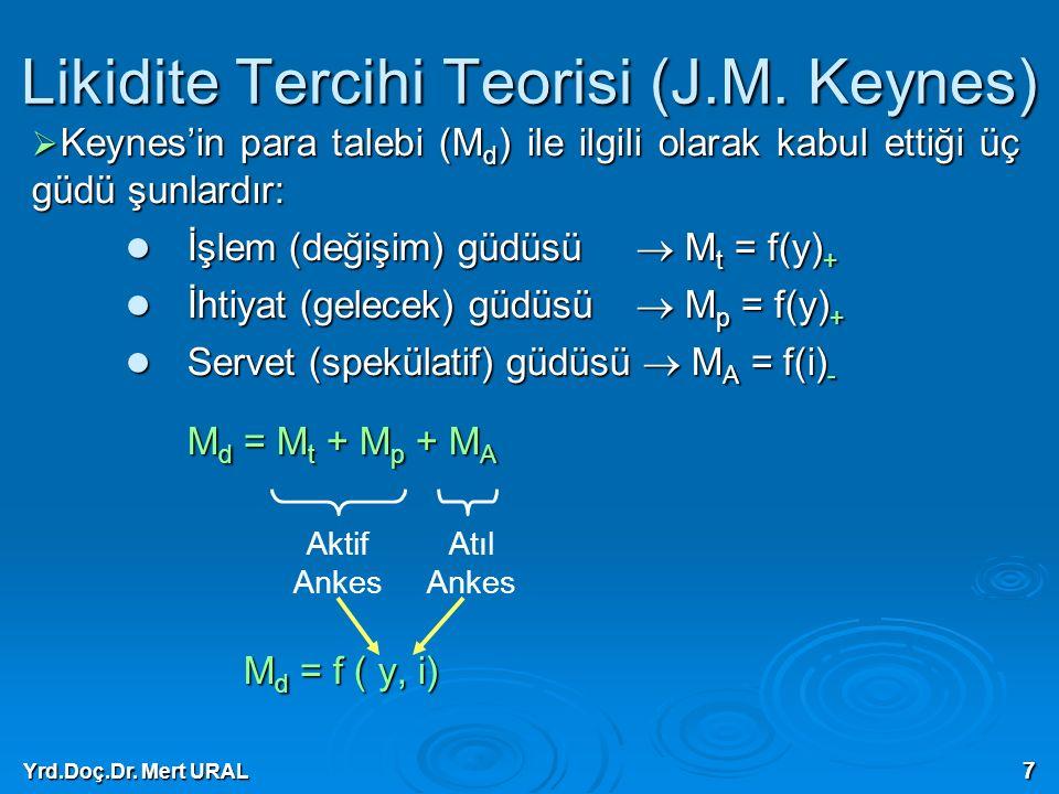 Yrd.Doç.Dr. Mert URAL 7 Likidite Tercihi Teorisi (J.M. Keynes)  Keynes'in para talebi (M d ) ile ilgili olarak kabul ettiği üç güdü şunlardır: İşlem