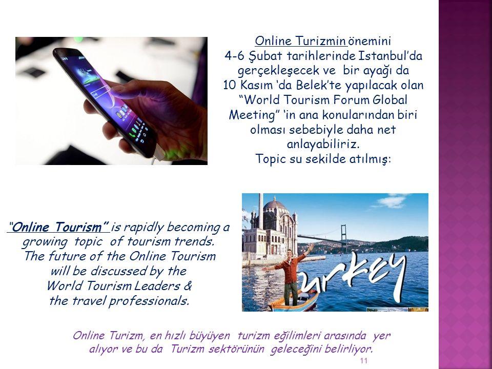 """11 Online Turizmin önemini 4-6 Şubat tarihlerinde Istanbul'da gerçekleşecek ve bir ayağı da 10 Kasım 'da Belek'te yapılacak olan """"World Tourism Forum"""