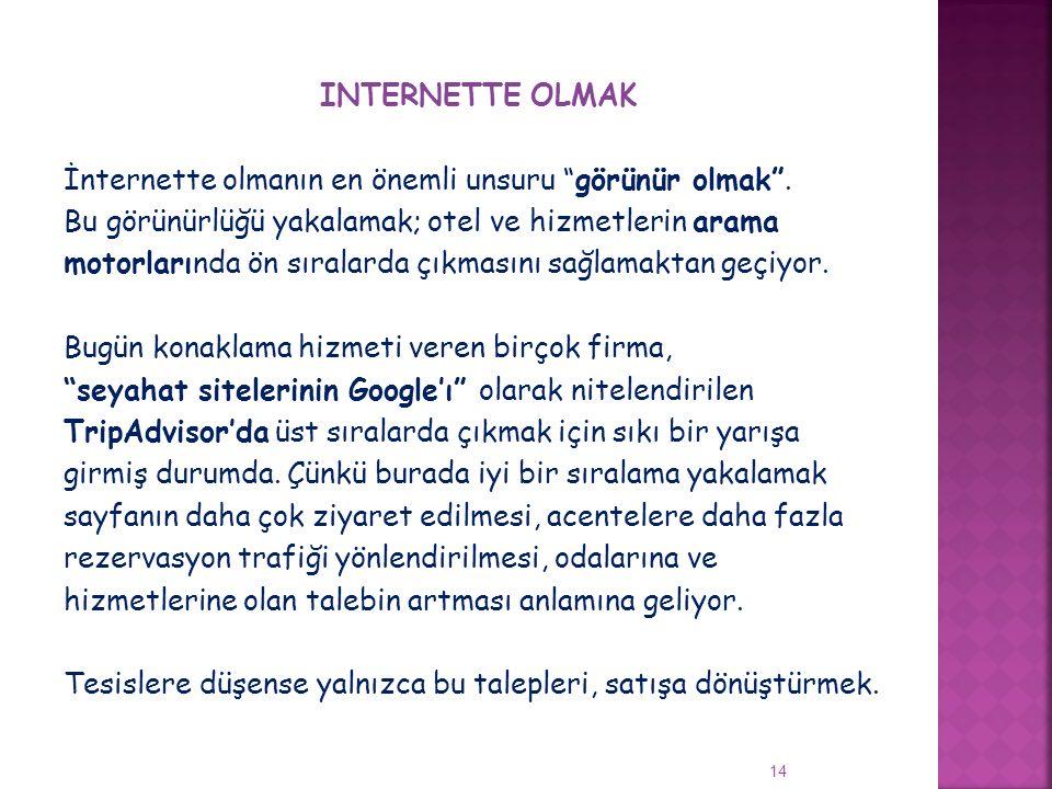 """INTERNETTE OLMAK İnternette olmanın en önemli unsuru """"görünür olmak"""". Bu görünürlüğü yakalamak; otel ve hizmetlerin arama motorlarında ön sıralarda çı"""