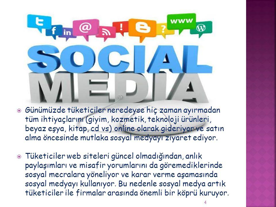  Misafirler rezervasyon yaptırdıktan önce, yaparken, geliş tarihine kadar, konakladığı süre zarfında ve döndükten sonra bile her aşamada Sosyal Medyayı kullanıyor Tüm gelişmelerden ve aktivitelerden haberdar olmak için öncesinde web sayfası, tripadvisor, booking.com, facebook başta olmak üzere araştırıyor, yorumları okuyor ve gelmeden önce sosyal mecralar üzerinden sorular yöneltiyorlar.
