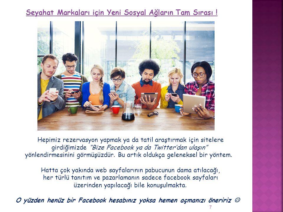 """Seyahat Markaları için Yeni Sosyal Ağların Tam Sırası ! 7 Hepimiz rezervasyon yapmak ya da tatil araştırmak için sitelere girdiğimizde """"Bize Facebook"""