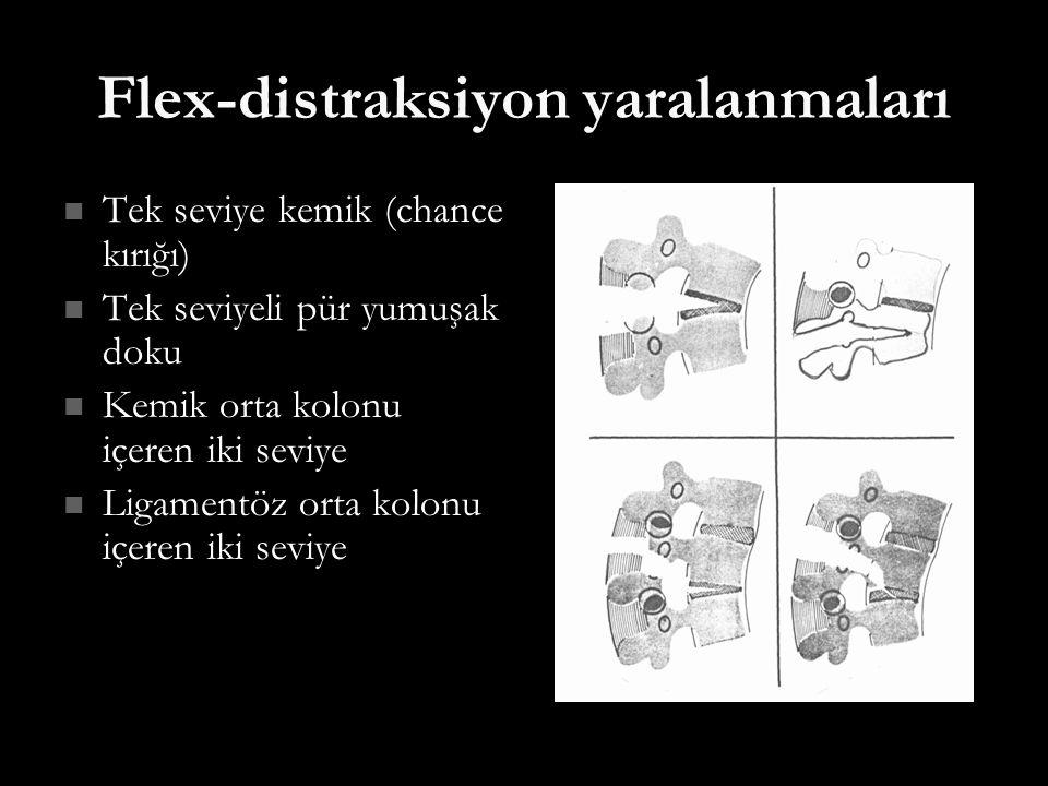 Flex-distraksiyon yaralanmaları Tek seviye kemik (chance kırığı) Tek seviye kemik (chance kırığı) Tek seviyeli pür yumuşak doku Tek seviyeli pür yumuş