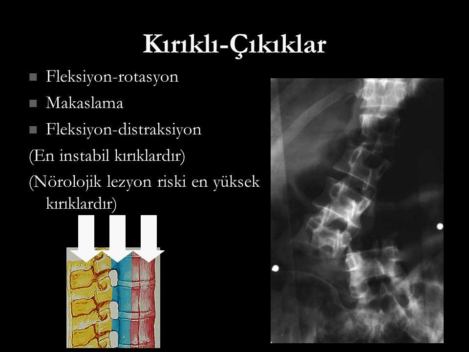 Kırıklı-Çıkıklar Fleksiyon-rotasyon Fleksiyon-rotasyon Makaslama Makaslama Fleksiyon-distraksiyon Fleksiyon-distraksiyon (En instabil kırıklardır) (Nö