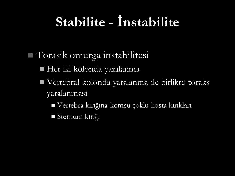 Stabilite - İnstabilite Torasik omurga instabilitesi Torasik omurga instabilitesi Her iki kolonda yaralanma Her iki kolonda yaralanma Vertebral kolond