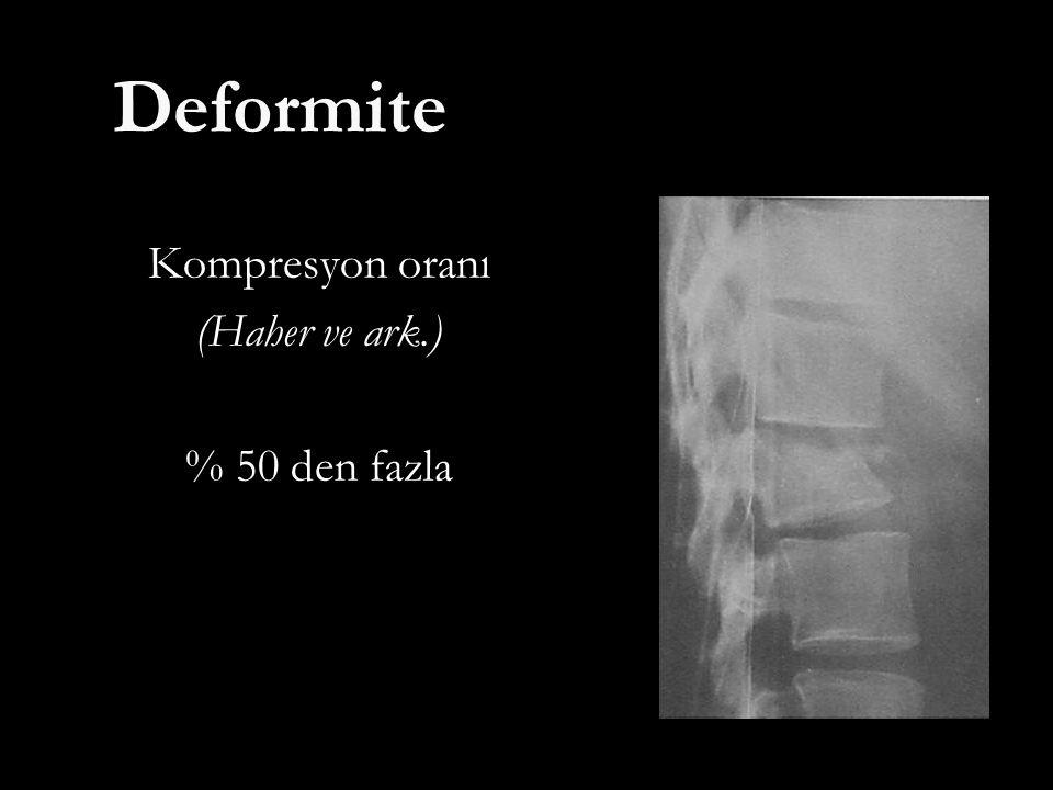 Deformite Kompresyon oranı (Haher ve ark.) % 50 den fazla