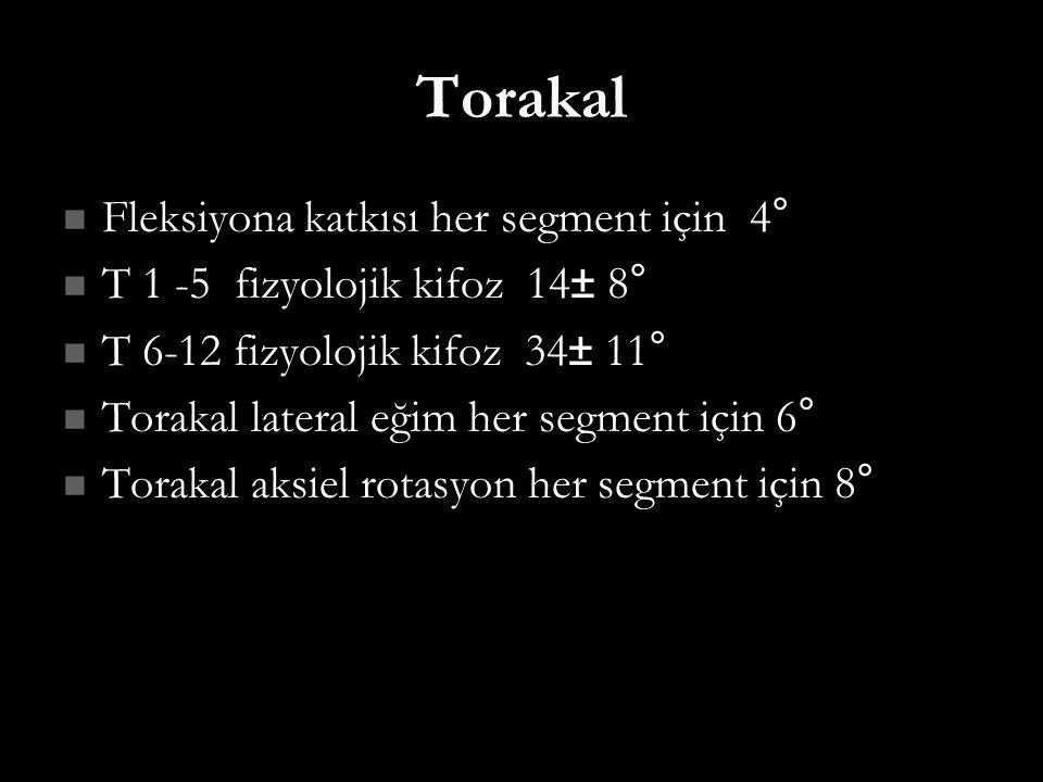 Torakal Fleksiyona katkısı her segment için 4° Fleksiyona katkısı her segment için 4° T 1 -5 fizyolojik kifoz 14± 8° T 1 -5 fizyolojik kifoz 14± 8° T