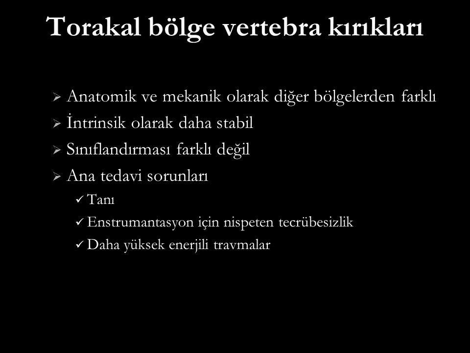 Torakal bölge vertebra kırıkları  Anatomik ve mekanik olarak diğer bölgelerden farklı  İntrinsik olarak daha stabil  Sınıflandırması farklı değil 