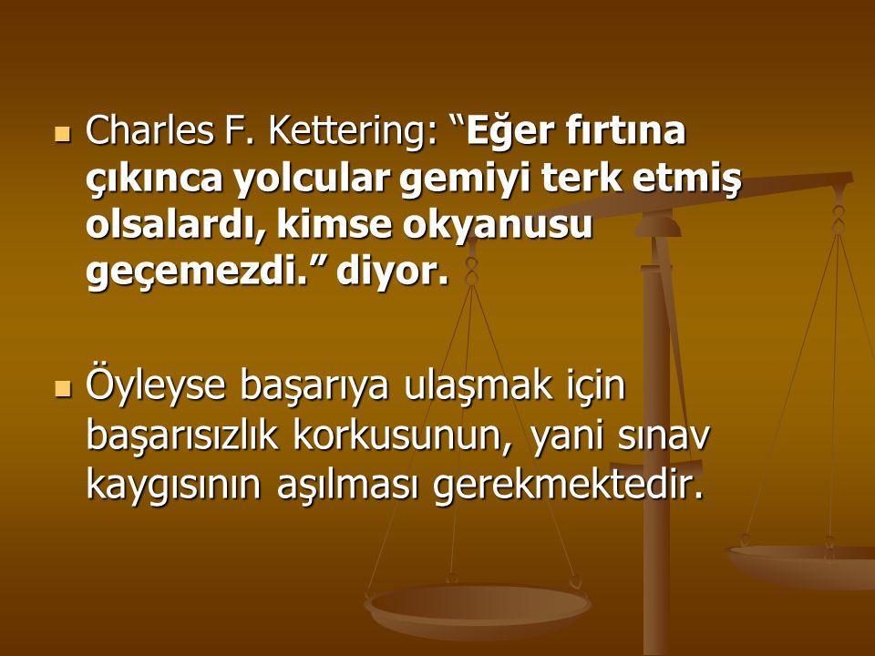 """Charles F. Kettering: """"Eğer fırtına çıkınca yolcular gemiyi terk etmiş olsalardı, kimse okyanusu geçemezdi."""" diyor. Charles F. Kettering: """"Eğer fırtın"""