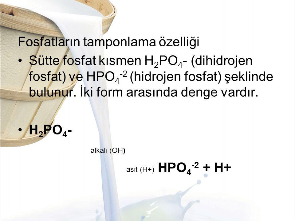 Fosfatların tamponlama özelliği Sütte fosfat kısmen H 2 PO 4 - (dihidrojen fosfat) ve HPO 4 -2 (hidrojen fosfat) şeklinde bulunur.