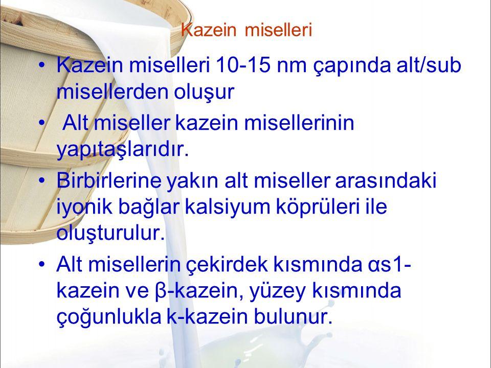 Kazein miselleri Kazein miselleri 10-15 nm çapında alt/sub misellerden oluşur Alt miseller kazein misellerinin yapıtaşlarıdır.