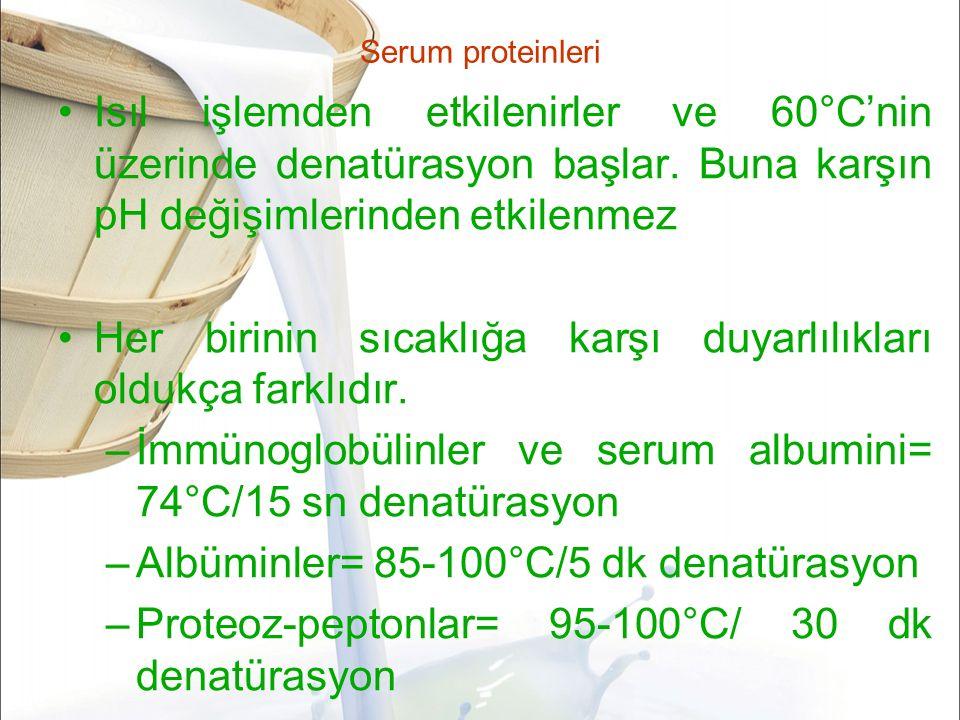 Serum proteinleri Isıl işlemden etkilenirler ve 60°C'nin üzerinde denatürasyon başlar.