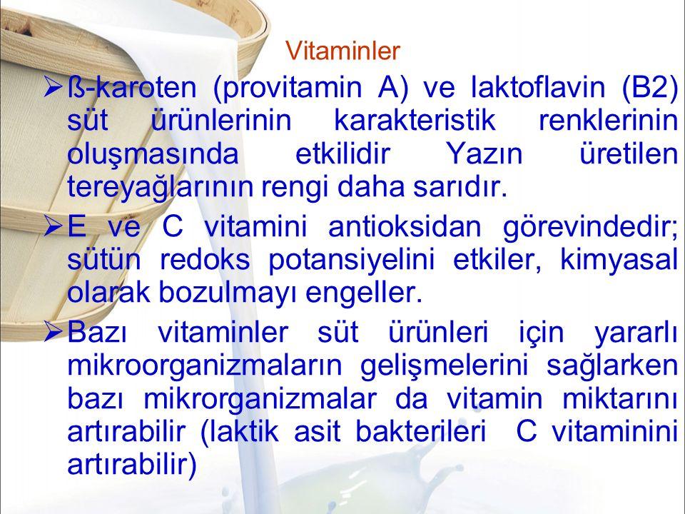Vitaminler  ß-karoten (provitamin A) ve laktoflavin (B2) süt ürünlerinin karakteristik renklerinin oluşmasında etkilidir Yazın üretilen tereyağlarının rengi daha sarıdır.