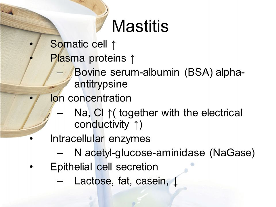 Mastitis Somatic cell ↑ Plasma proteins ↑ –Bovine serum-albumin (BSA) alpha- antitrypsine Ion concentration –Na, Cl ↑( together with the electrical co
