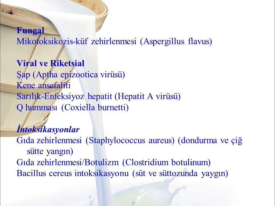 Fungal Mikotoksikozis-küf zehirlenmesi (Aspergillus flavus) Viral ve Riketsial Şap (Aptha epizootica virüsü) Kene ansefaliti Sarılık-Enfeksiyoz hepatit (Hepatit A virüsü) Q humması (Coxiella burnetti) İntoksikasyonlar Gıda zehirlenmesi (Staphylococcus aureus) (dondurma ve çiğ sütte yangın) Gıda zehirlenmesi/Botulizm (Clostridium botulinum) Bacillus cereus intoksikasyonu (süt ve süttozunda yaygın)
