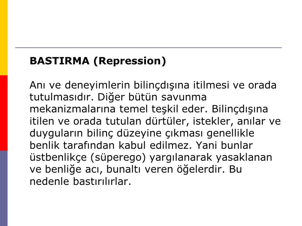BASTIRMA (Repression) Anı ve deneyimlerin bilinçdışına itilmesi ve orada tutulmasıdır. Diğer bütün savunma mekanizmalarına temel teşkil eder. Bilinçdı