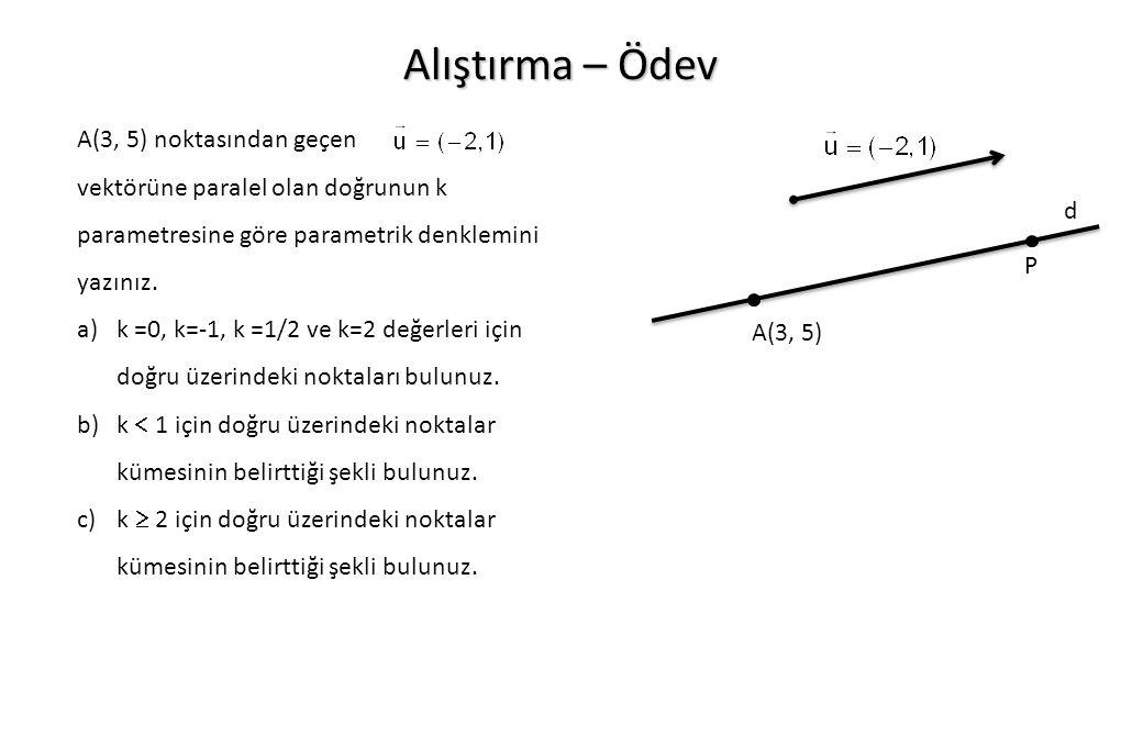 Alıştırma – Ödev A(3, 5) noktasından geçen vektörüne paralel olan doğrunun k parametresine göre parametrik denklemini yazınız. a)k =0, k=-1, k =1/2 ve