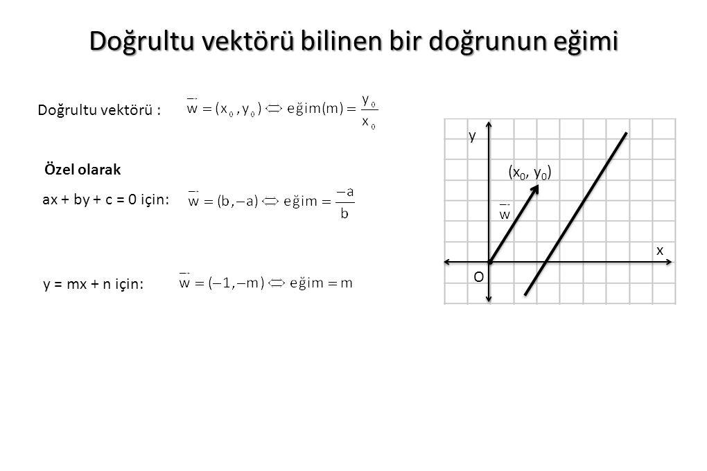 Doğrultu vektörü : Doğrultu vektörü bilinen bir doğrunun eğimi ax + by + c = 0 için: y = mx + n için: O x y (x 0, y 0 ) Özel olarak