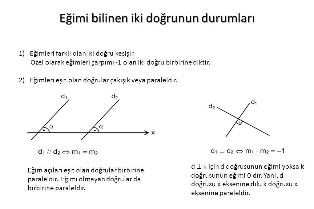 Eğimi bilinen iki doğrunun durumları 1)Eğimleri farklı olan iki doğru kesişir. Özel olarak eğimleri çarpımı -1 olan iki doğru birbirine diktir. 2) Eği