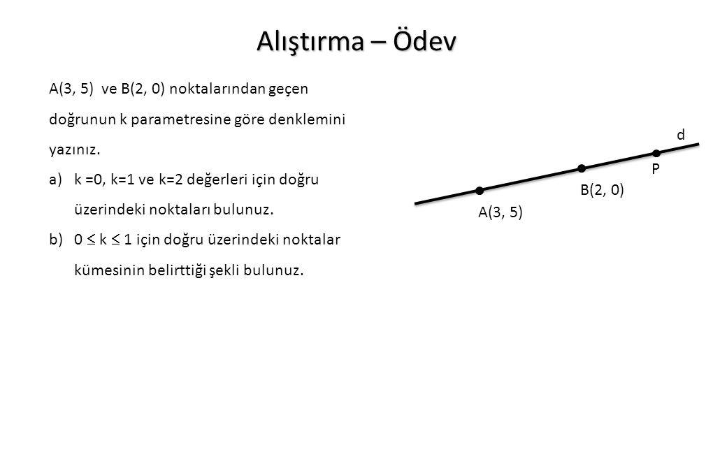 Alıştırma – Ödev A(3, 5) ve B(2, 0) noktalarından geçen doğrunun k parametresine göre denklemini yazınız. a)k =0, k=1 ve k=2 değerleri için doğru üzer