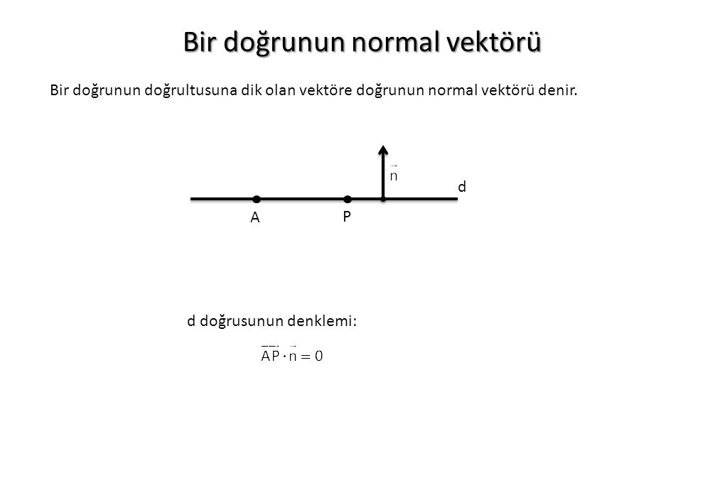Bir doğrunun normal vektörü Bir doğrunun doğrultusuna dik olan vektöre doğrunun normal vektörü denir. A P d d doğrusunun denklemi: