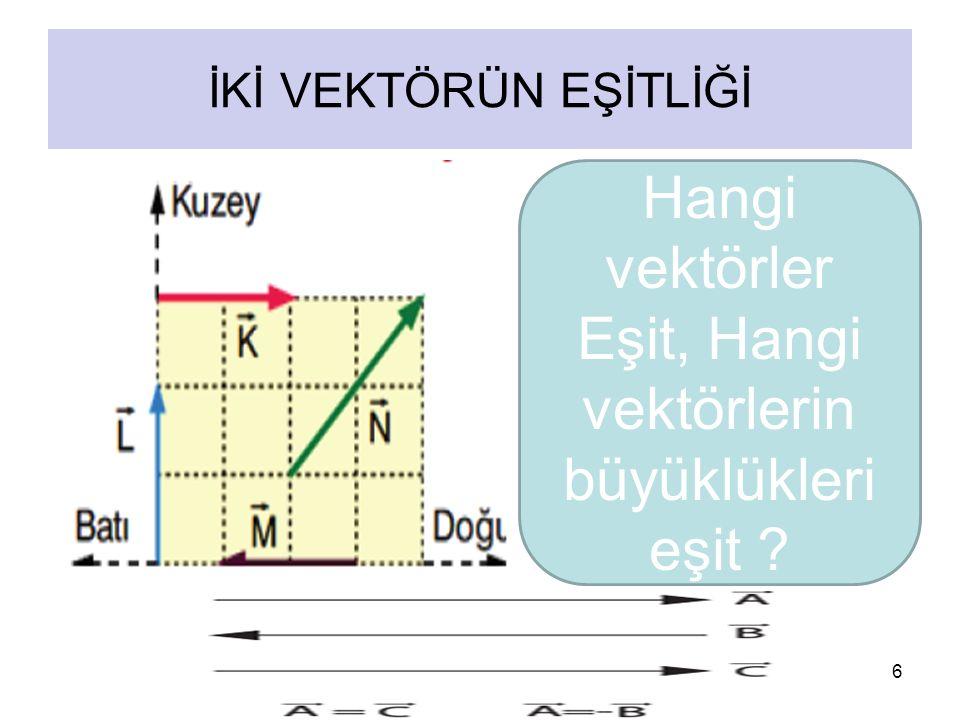 6 İKİ VEKTÖRÜN EŞİTLİĞİ Hangi vektörler Eşit, Hangi vektörlerin büyüklükleri eşit ?