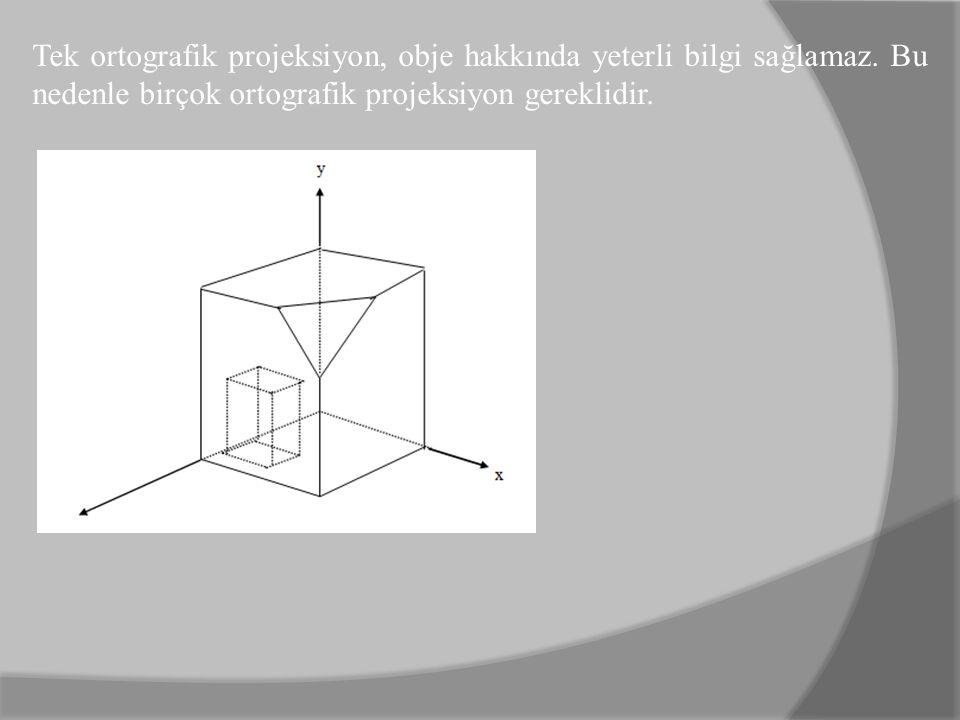 Tek ortografik projeksiyon, obje hakkında yeterli bilgi sağlamaz. Bu nedenle birçok ortografik projeksiyon gereklidir.