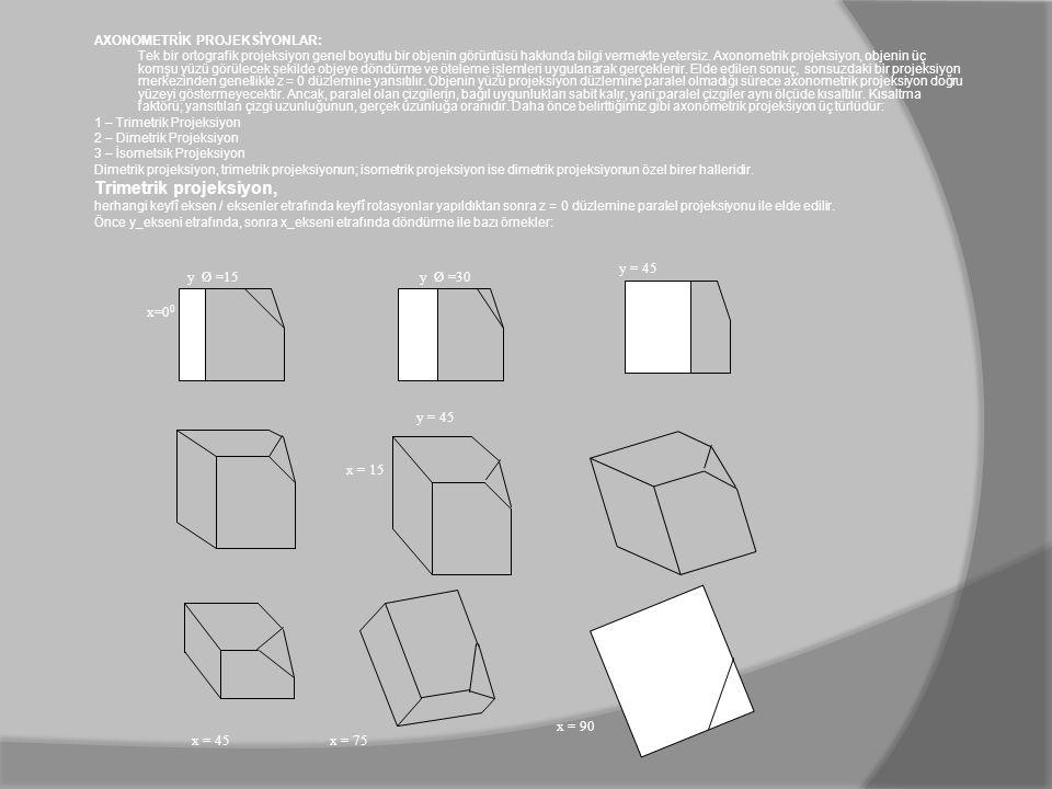 AXONOMETRİK PROJEKSİYONLAR: Tek bir ortografik projeksiyon genel boyutlu bir objenin görüntüsü hakkında bilgi vermekte yetersiz. Axonometrik projeksiy