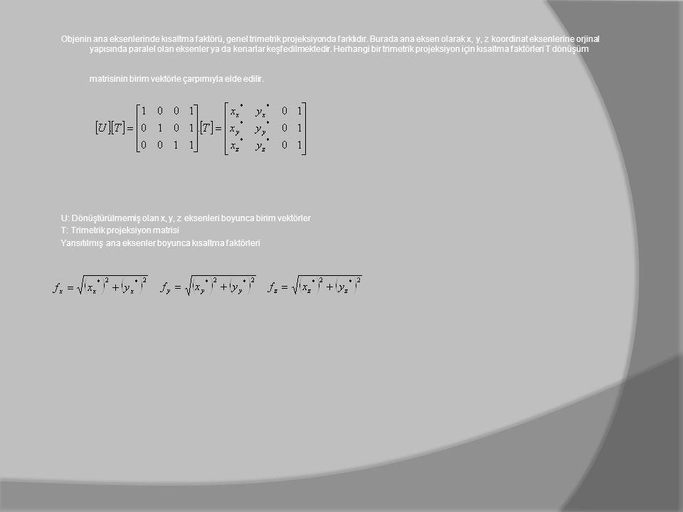 Objenin ana eksenlerinde kısaltma faktörü, genel trimetrik projeksiyonda farklıdır. Burada ana eksen olarak x, y, z koordinat eksenlerine orjinal yapı