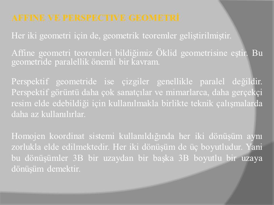 AFFINE VE PERSPECTIVE GEOMETRİ Her iki geometri için de, geometrik teoremler geliştirilmiştir. Affine geometri teoremleri bildiğimiz Öklid geometrisin