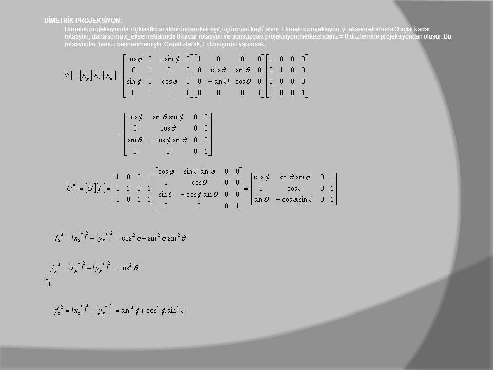 DİMETRİK PROJEKSİYON: Dimetrik projeksiyonda, üç kısaltma faktöründen ikisi eşit, üçüncüsü keyfî alınır. Dimetrik projeksiyon, y_ekseni etrafında Ø aç