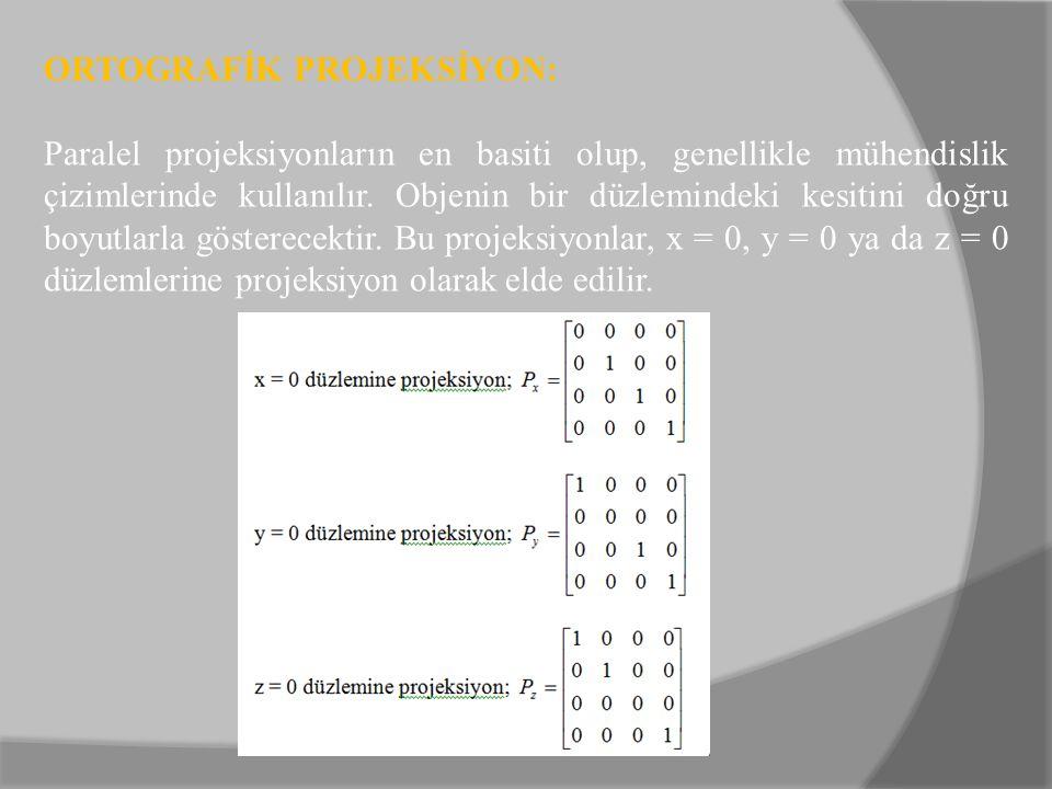 ORTOGRAFİK PROJEKSİYON: Paralel projeksiyonların en basiti olup, genellikle mühendislik çizimlerinde kullanılır. Objenin bir düzlemindeki kesitini doğ