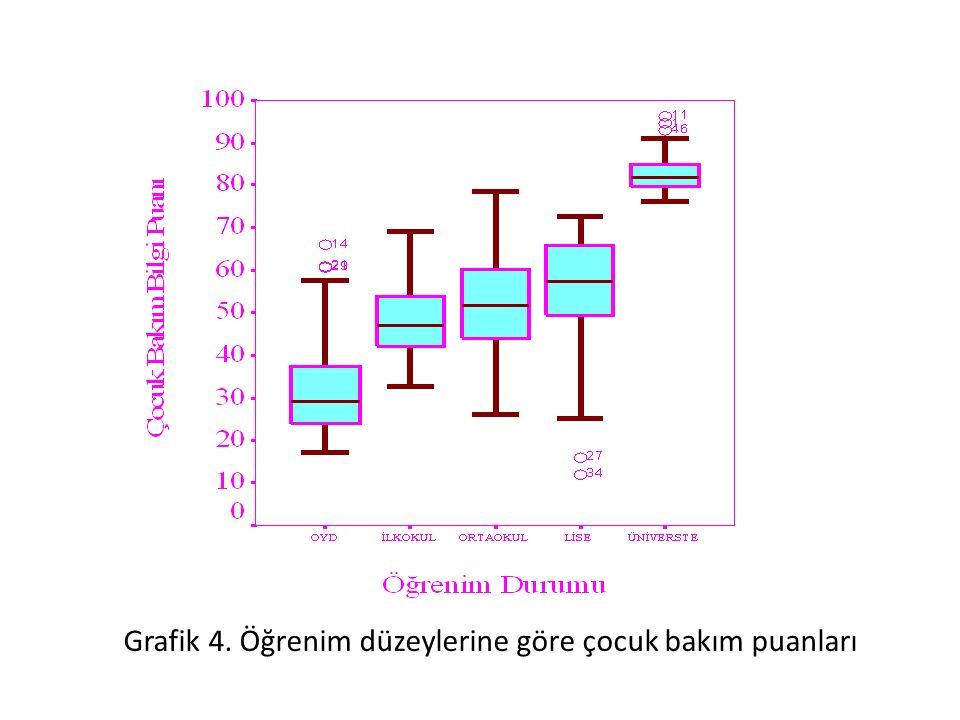 Grafik 4. Öğrenim düzeylerine göre çocuk bakım puanları