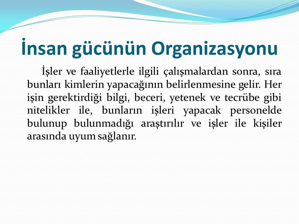 İnsan gücünün Organizasyonu İşler ve faaliyetlerle ilgili çalışmalardan sonra, sıra bunları kimlerin yapacağının belirlenmesine gelir.