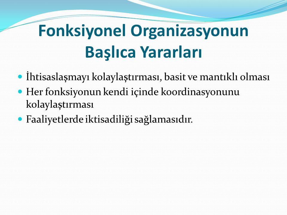 Fonksiyonel Organizasyonun Başlıca Yararları İhtisaslaşmayı kolaylaştırması, basit ve mantıklı olması Her fonksiyonun kendi içinde koordinasyonunu kolaylaştırması Faaliyetlerde iktisadiliği sağlamasıdır.