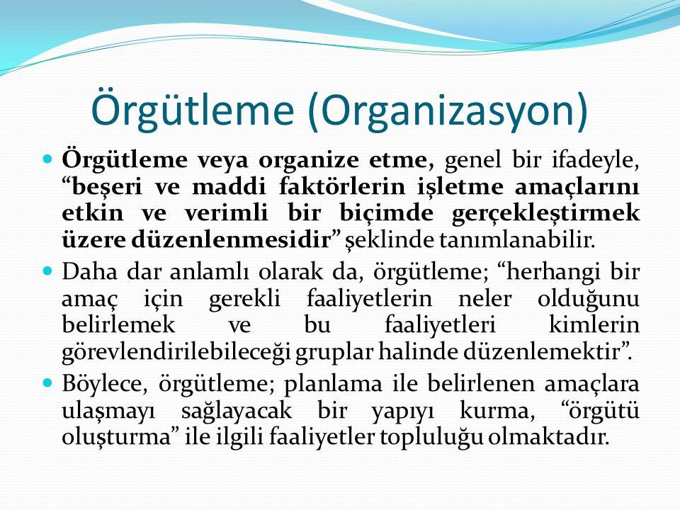 Örgütleme (Organizasyon) Örgütleme veya organize etme, genel bir ifadeyle, beşeri ve maddi faktörlerin işletme amaçlarını etkin ve verimli bir biçimde gerçekleştirmek üzere düzenlenmesidir şeklinde tanımlanabilir.
