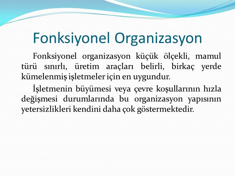 Fonksiyonel Organizasyon Fonksiyonel organizasyon küçük ölçekli, mamul türü sınırlı, üretim araçları belirli, birkaç yerde kümelenmiş işletmeler için en uygundur.
