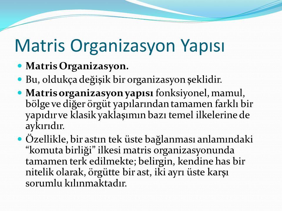 Matris Organizasyon Yapısı Matris Organizasyon.Bu, oldukça değişik bir organizasyon şeklidir.