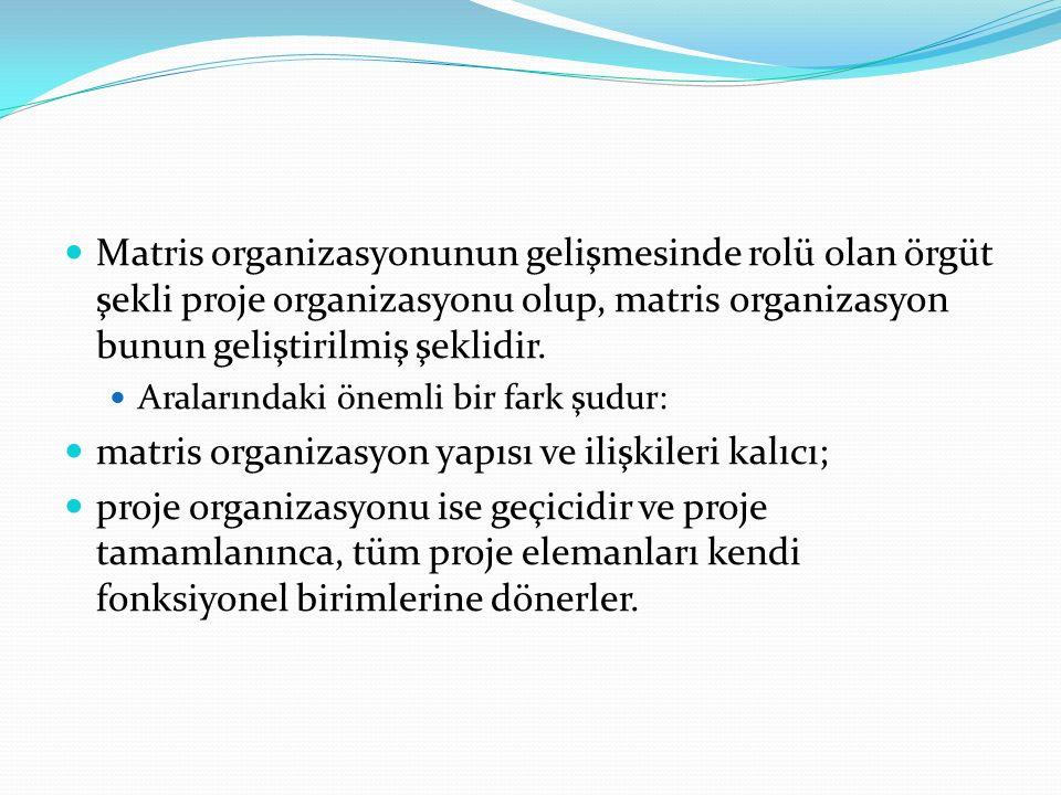 Matris organizasyonunun gelişmesinde rolü olan örgüt şekli proje organizasyonu olup, matris organizasyon bunun geliştirilmiş şeklidir.