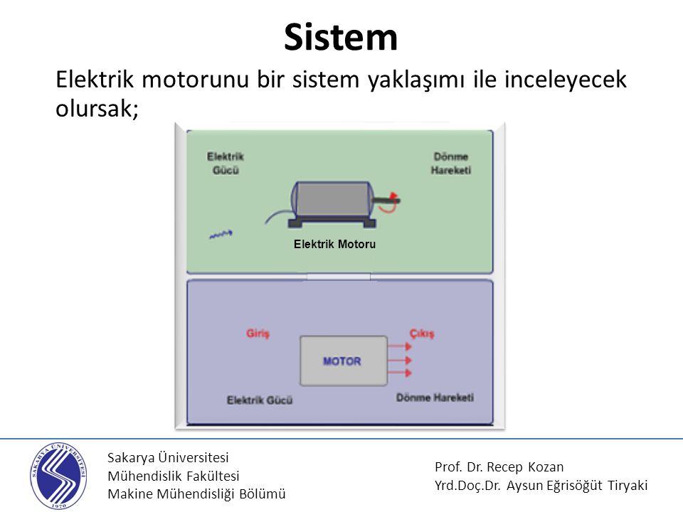 Sakarya Üniversitesi Mühendislik Fakültesi Makine Mühendisliği Bölümü Sistem Elektrik motorunu bir sistem yaklaşımı ile inceleyecek olursak; Elektrik