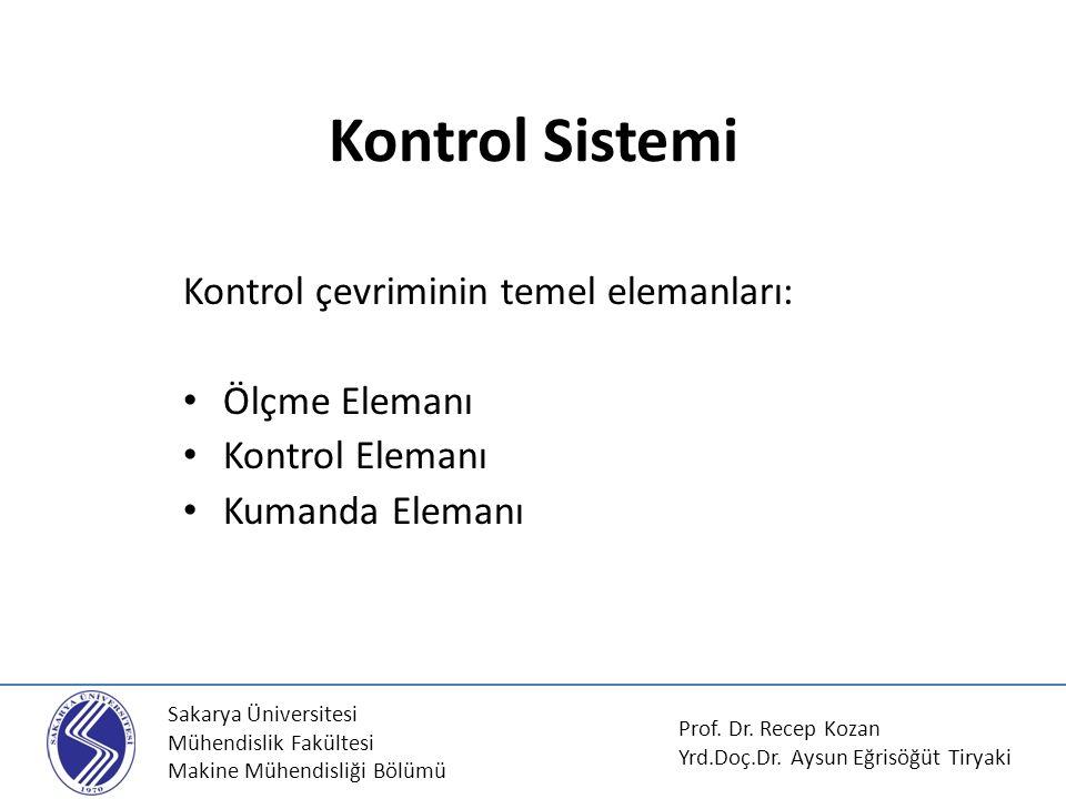 Sakarya Üniversitesi Mühendislik Fakültesi Makine Mühendisliği Bölümü Kontrol Sistemi Kontrol çevriminin temel elemanları: Ölçme Elemanı Kontrol Elema