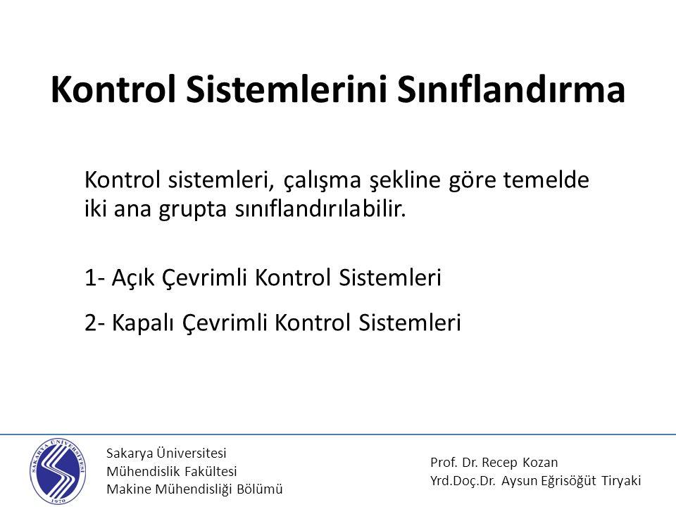 Sakarya Üniversitesi Mühendislik Fakültesi Makine Mühendisliği Bölümü Kontrol Sistemlerini Sınıflandırma Kontrol sistemleri, çalışma şekline göre teme