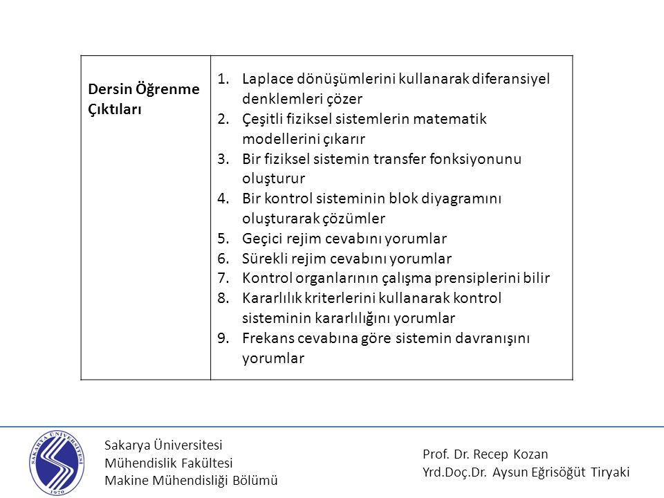 Sakarya Üniversitesi Mühendislik Fakültesi Makine Mühendisliği Bölümü Dersin Öğrenme Çıktıları 1.Laplace dönüşümlerini kullanarak diferansiyel denklem