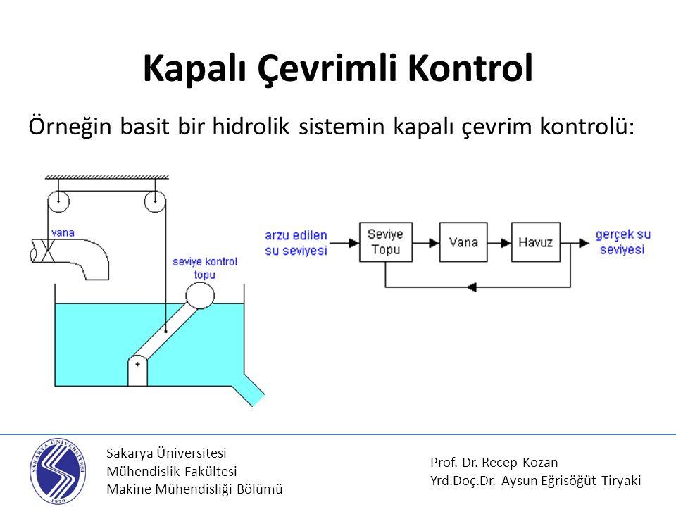 Sakarya Üniversitesi Mühendislik Fakültesi Makine Mühendisliği Bölümü Kapalı Çevrimli Kontrol Örneğin basit bir hidrolik sistemin kapalı çevrim kontro